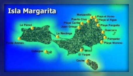 Mapa Isla Margarita Embarque na Viagem